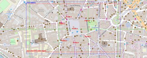 Variante 1 : 7 points autour de la place du Capitole : carte debug